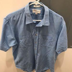 Blue Burberrys Button Down Linen Blend VTG Shirt